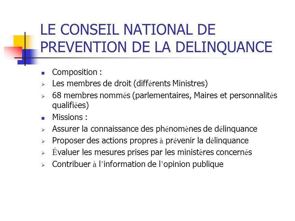 LE CONSEIL NATIONAL DE PREVENTION DE LA DELINQUANCE Composition :  Les membres de droit (diff é rents Ministres)  68 membres nomm é s (parlementaire