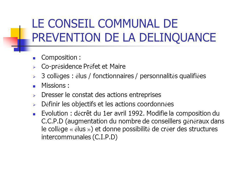 LE CONSEIL COMMUNAL DE PREVENTION DE LA DELINQUANCE Composition :  Co-pr é sidence Pr é fet et Maire  3 coll è ges : é lus / fonctionnaires / person