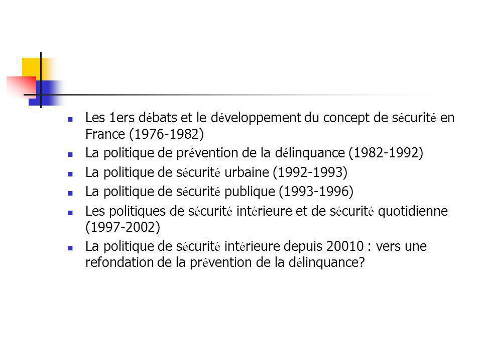 Les 1ers d é bats et le d é veloppement du concept de s é curit é en France (1976-1982) La politique de pr é vention de la d é linquance (1982-1992) L