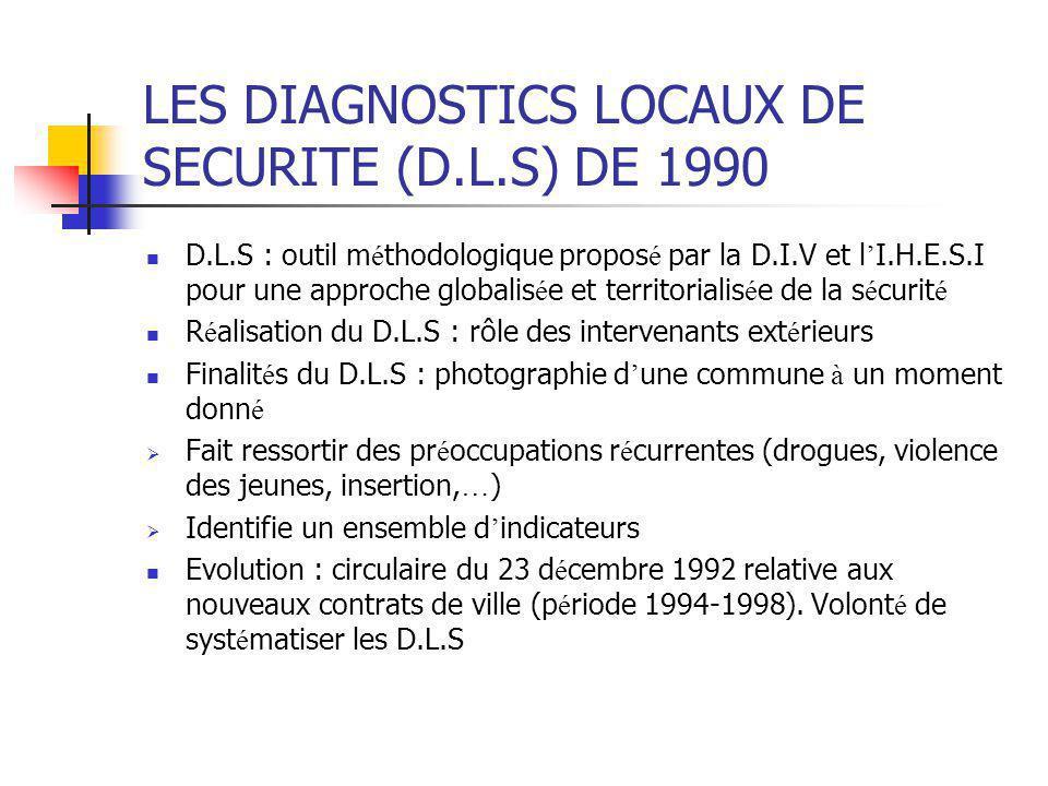 LES DIAGNOSTICS LOCAUX DE SECURITE (D.L.S) DE 1990 D.L.S : outil m é thodologique propos é par la D.I.V et l ' I.H.E.S.I pour une approche globalis é