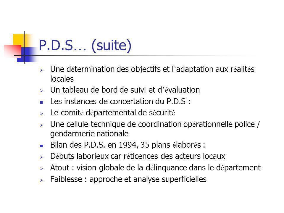 P.D.S … (suite)  Une d é termination des objectifs et l ' adaptation aux r é alit é s locales  Un tableau de bord de suivi et d 'é valuation Les ins