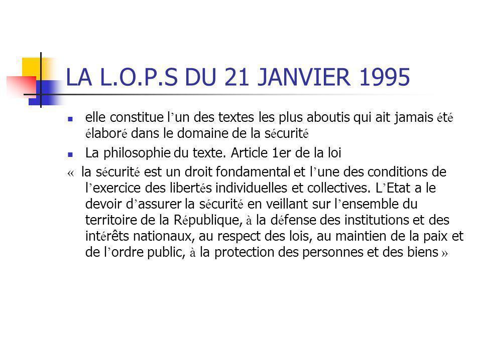 LA L.O.P.S DU 21 JANVIER 1995 elle constitue l ' un des textes les plus aboutis qui ait jamais é t é é labor é dans le domaine de la s é curit é La ph