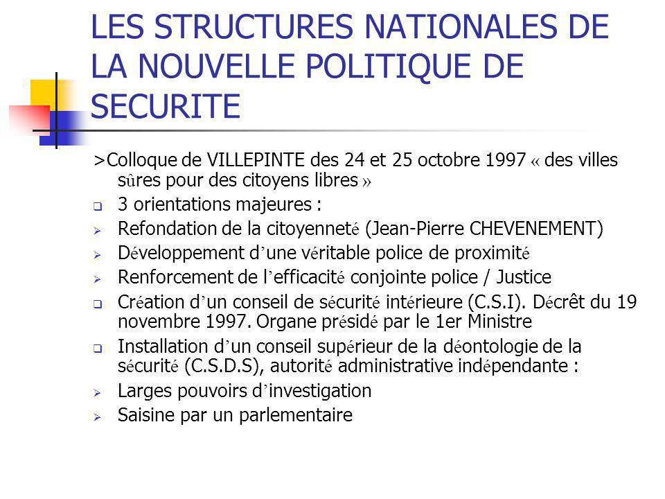 LES STRUCTURES NATIONALES DE LA NOUVELLE POLITIQUE DE SECURITE >Colloque de VILLEPINTE des 24 et 25 octobre 1997 « des villes s û res pour des citoyen