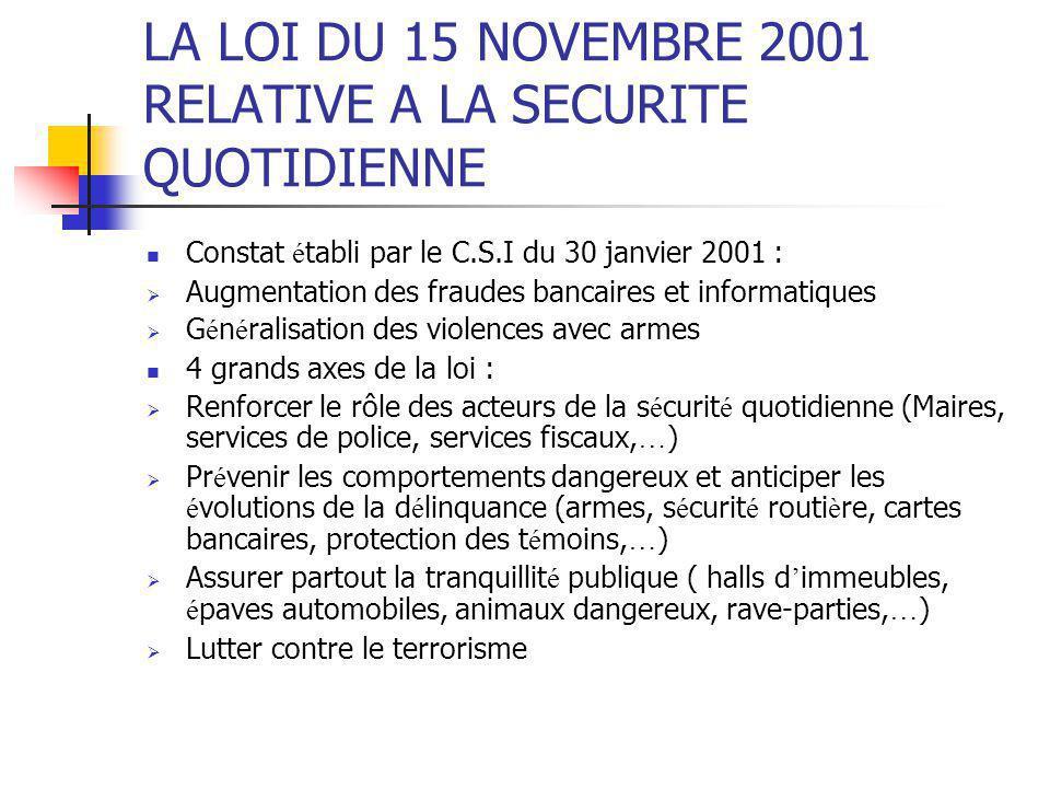 LA LOI DU 15 NOVEMBRE 2001 RELATIVE A LA SECURITE QUOTIDIENNE Constat é tabli par le C.S.I du 30 janvier 2001 :  Augmentation des fraudes bancaires e