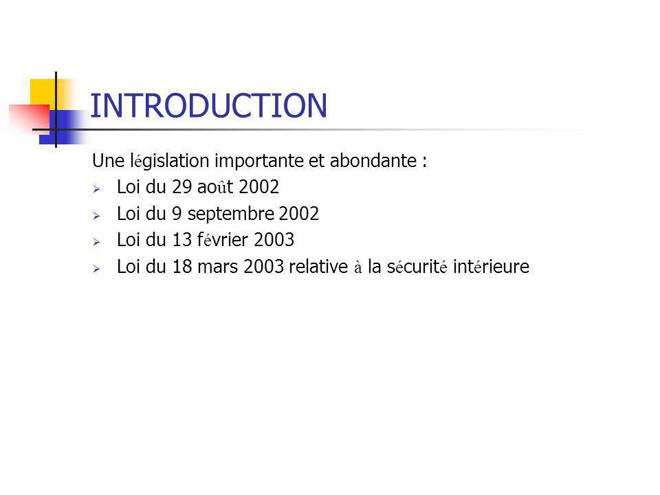 INTRODUCTION Une l é gislation importante et abondante :  Loi du 29 ao û t 2002  Loi du 9 septembre 2002  Loi du 13 f é vrier 2003  Loi du 18 mars