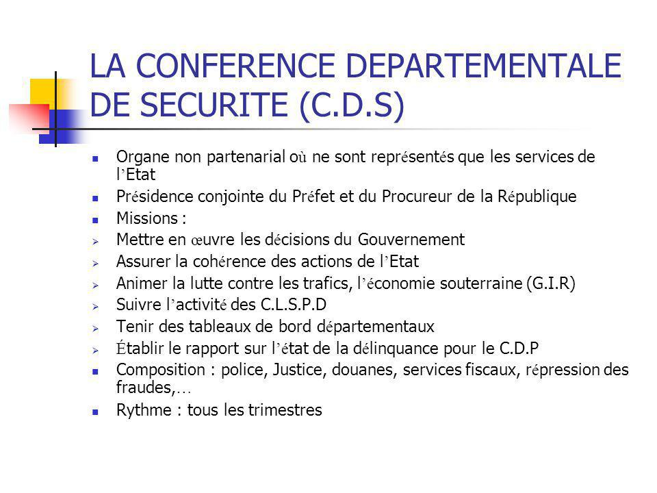 LA CONFERENCE DEPARTEMENTALE DE SECURITE (C.D.S) Organe non partenarial o ù ne sont repr é sent é s que les services de l ' Etat Pr é sidence conjoint