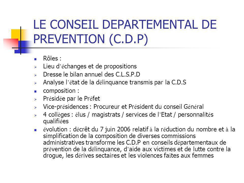 LE CONSEIL DEPARTEMENTAL DE PREVENTION (C.D.P) Rôles :  Lieu d 'é changes et de propositions  Dresse le bilan annuel des C.L.S.P.D  Analyse l 'é ta