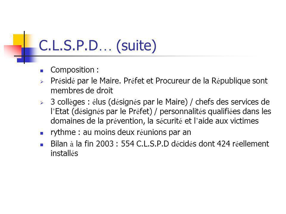 C.L.S.P.D … (suite) Composition :  Pr é sid é par le Maire. Pr é fet et Procureur de la R é publique sont membres de droit  3 coll è ges : é lus (d