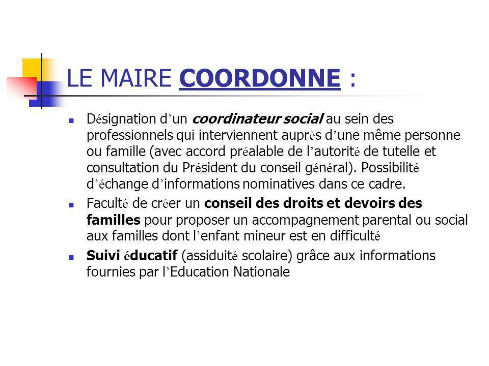 LE MAIRE COORDONNE : D é signation d ' un coordinateur social au sein des professionnels qui interviennent aupr è s d ' une même personne ou famille (