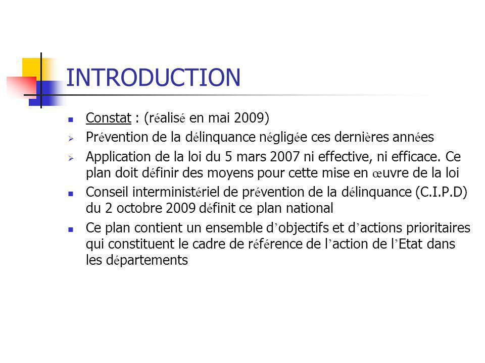 INTRODUCTION Constat : (r é alis é en mai 2009)  Pr é vention de la d é linquance n é glig é e ces derni è res ann é es  Application de la loi du 5
