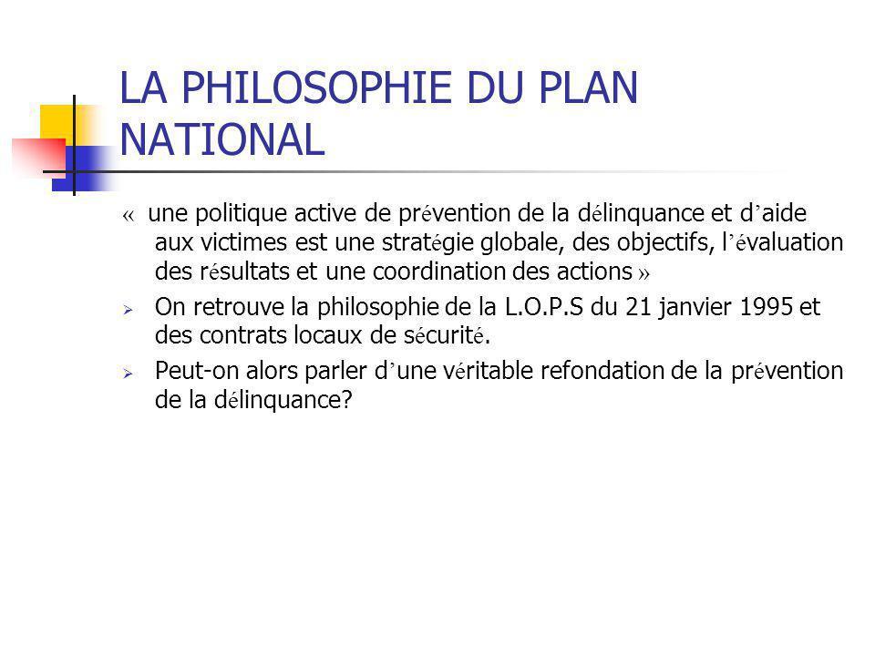 LA PHILOSOPHIE DU PLAN NATIONAL « une politique active de pr é vention de la d é linquance et d ' aide aux victimes est une strat é gie globale, des o