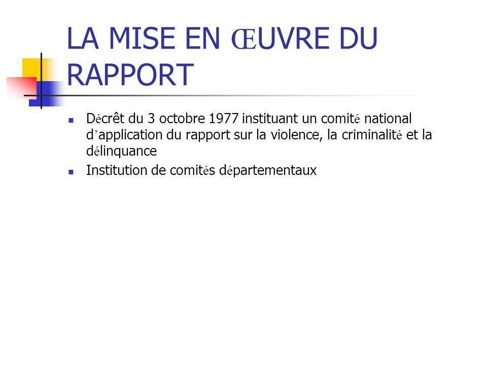 LA MISE EN Œ UVRE DU RAPPORT D é crêt du 3 octobre 1977 instituant un comit é national d ' application du rapport sur la violence, la criminalit é et