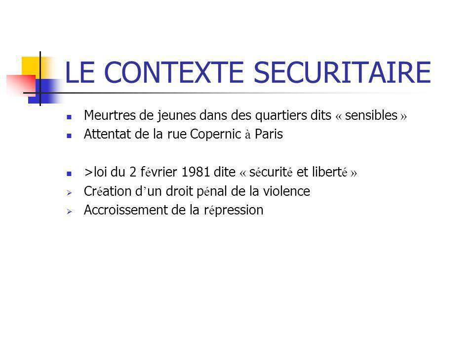 LE CONTEXTE SECURITAIRE Meurtres de jeunes dans des quartiers dits « sensibles » Attentat de la rue Copernic à Paris >loi du 2 f é vrier 1981 dite « s