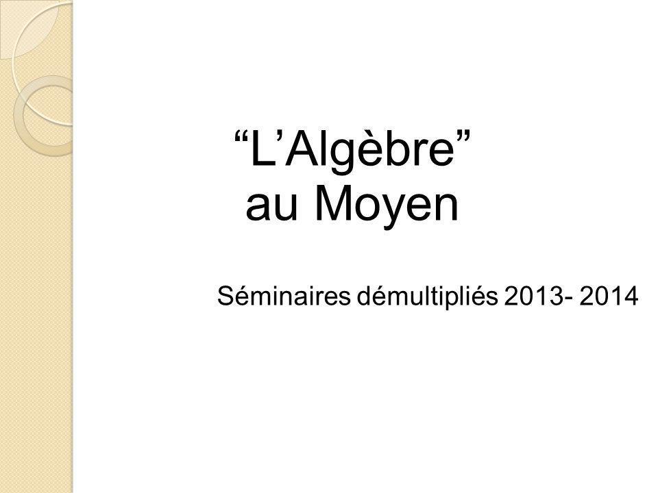 L'Algèbre au Moyen Séminaires démultipliés 2013- 2014