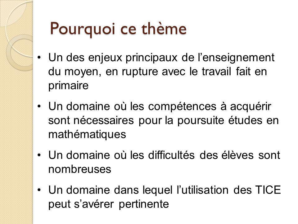 Les représentations de « l'Algèbre » Donner deux types d activités différentes que vous observez fréquemment dans les classes en « Algèbre » au moyen.