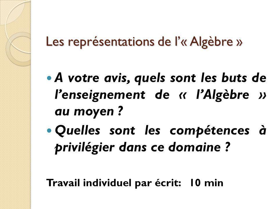 Les représentations de l'« Algèbre » A votre avis, quels sont les buts de l'enseignement de « l'Algèbre » au moyen .