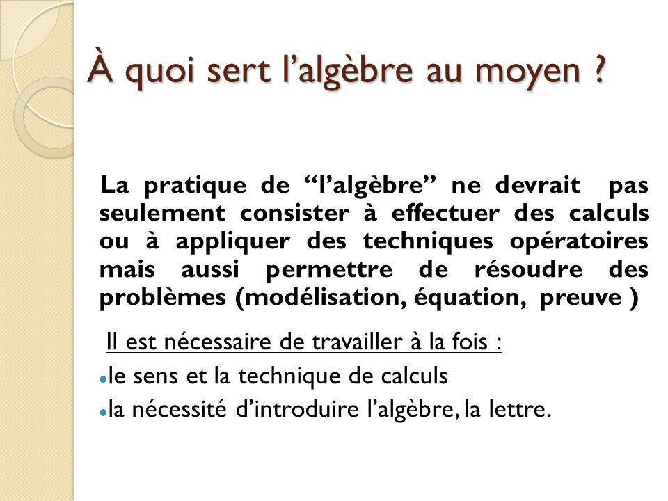 Les difficultés d'enseignement/Apprentissage D'après ce que vous observez dans les classes : Quelles sont les principales difficultés que rencontrent les élèves dans l'apprentissage de l'algèbre .