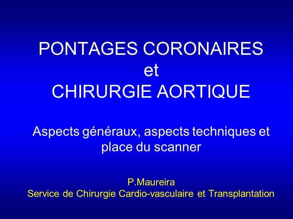 PONTAGES CORONAIRES et CHIRURGIE AORTIQUE Aspects généraux, aspects techniques et place du scanner P.Maureira Service de Chirurgie Cardio-vasculaire et Transplantation