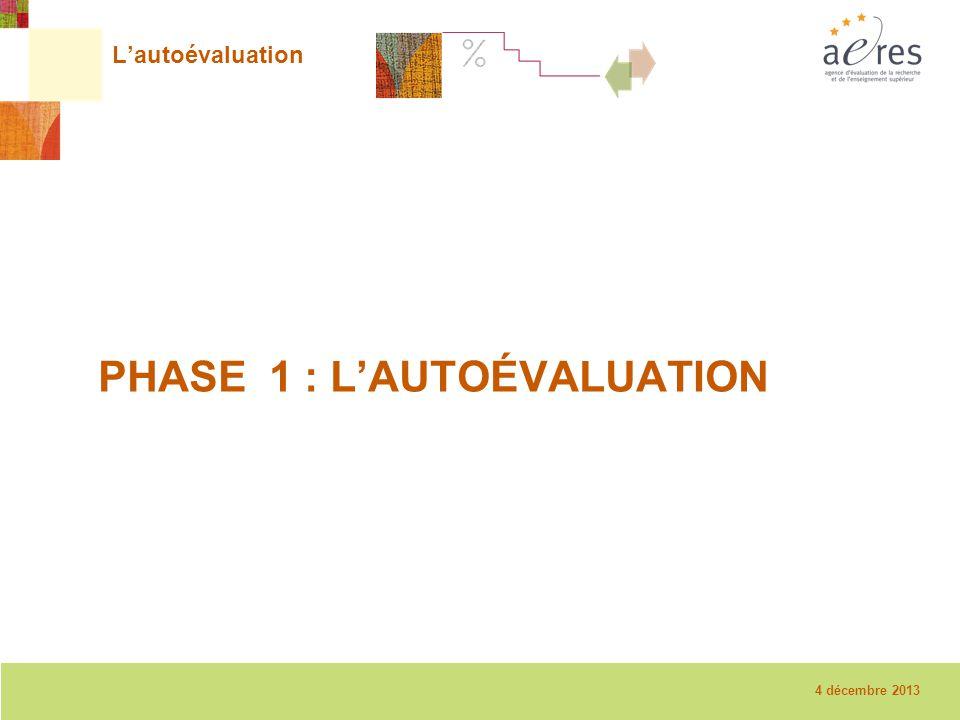 3 La visite sur place – 08/12/2010 L'autoévaluation PHASE 1 : L'AUTOÉVALUATION 4 décembre 2013