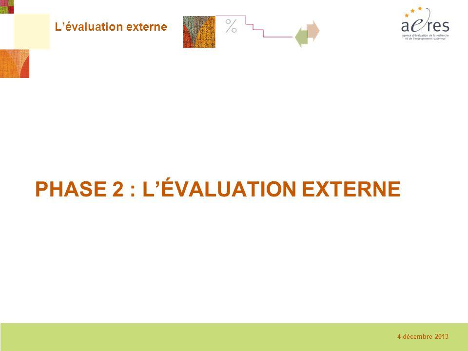 7 La visite sur place – 08/12/2010 L'évaluation externe PHASE 2 : L'ÉVALUATION EXTERNE 4 décembre 2013
