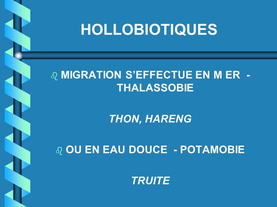 b MIGRATION S'EFFECTUE EN M ER - THALASSOBIE THON, HARENG b OU EN EAU DOUCE - POTAMOBIE TRUITE HOLLOBIOTIQUES