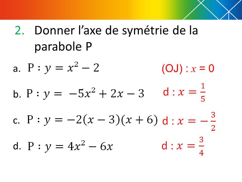 2.Donner l'axe de symétrie de la parabole P a. b. c. d. (OJ) : x = 0