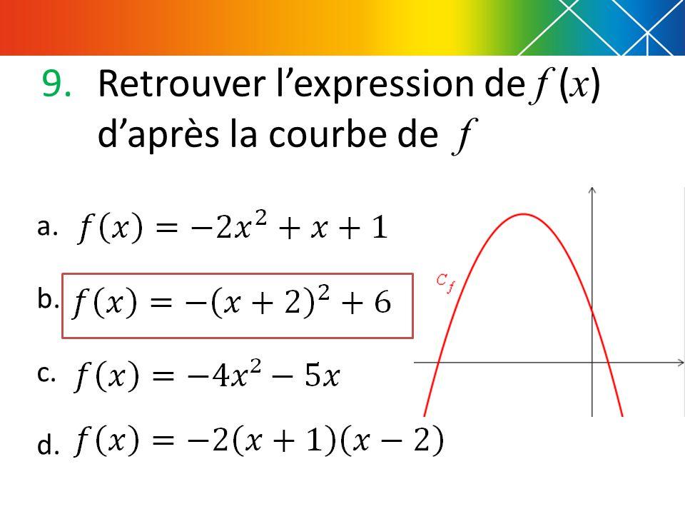 9.Retrouver l'expression de f ( x ) d'après la courbe de f a. b. c. d.