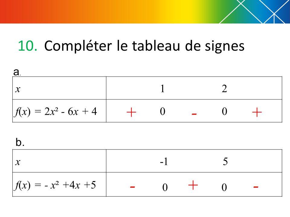 10.Compléter le tableau de signes x 1 2 f(x) = 2x² - 6x + 4 0 0 a.a.