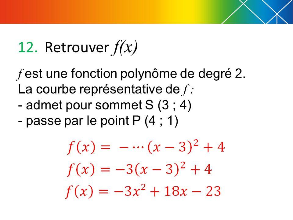 12.Retrouver f(x) f est une fonction polynôme de degré 2.