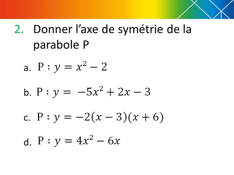 2.Donner l'axe de symétrie de la parabole P a. b. c. d.