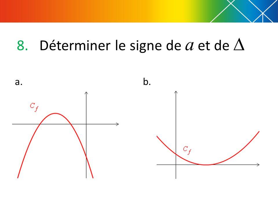 8.Déterminer le signe de a et de  a.b.
