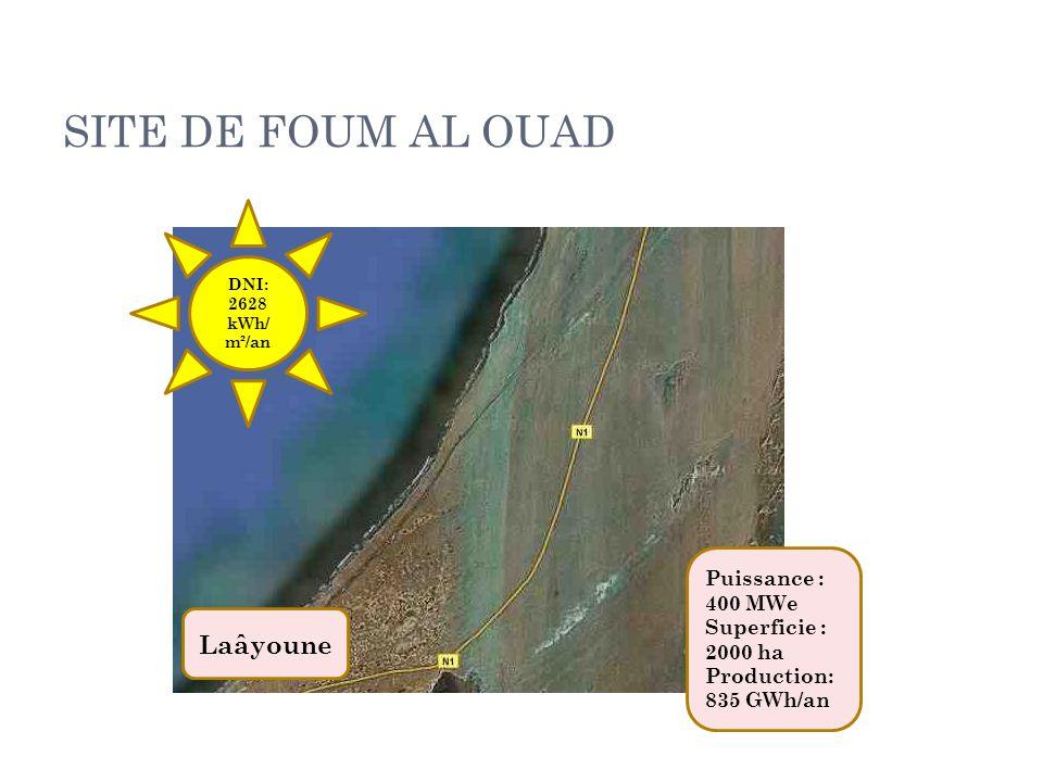 SITE DE FOUM AL OUAD DNI: 2628 kWh/ m²/an Puissance : 400 MWe Superficie : 2000 ha Production: 835 GWh/an Laâyoune