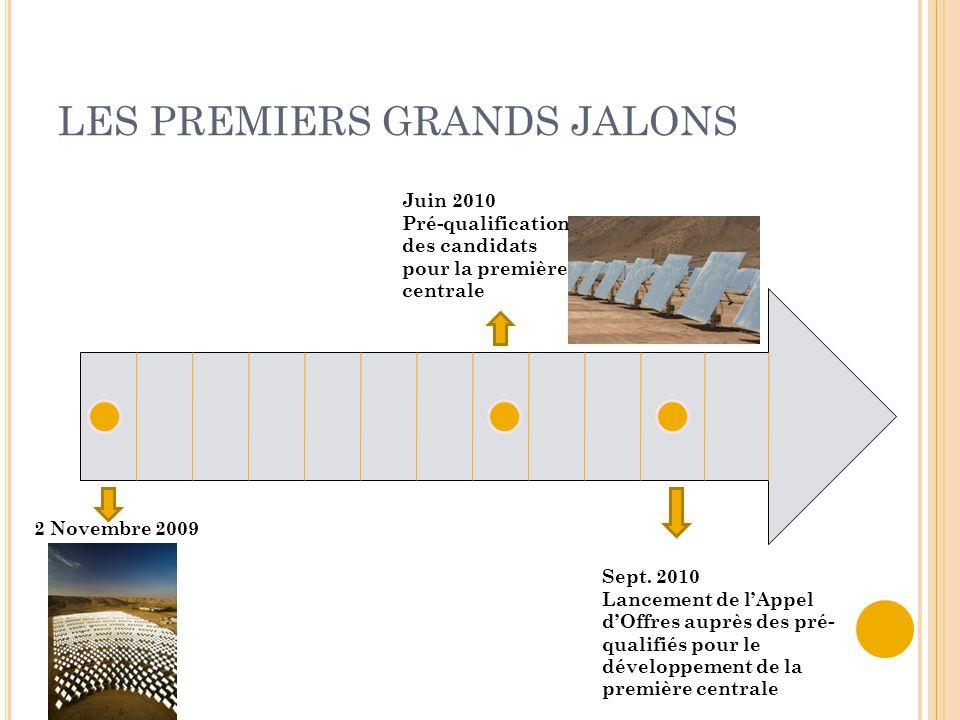 LES PREMIERS GRANDS JALONS Juin 2010 Pré-qualification des candidats pour la première centrale 2 Novembre 2009 Sept. 2010 Lancement de l'Appel d'Offre