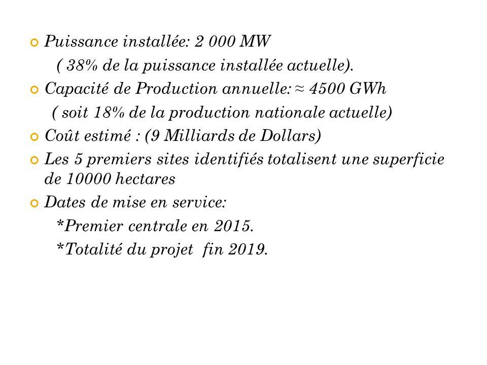 Puissance installée: 2 000 MW ( 38% de la puissance installée actuelle). Capacité de Production annuelle: ≈ 4500 GWh ( soit 18% de la production natio