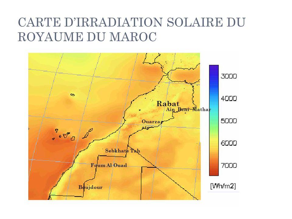 CARTE D'IRRADIATION SOLAIRE DU ROYAUME DU MAROC Rabat Ain Beni Mathar Ouarzaz ate Sebkhate Tah Foum Al Ouad Boujdour