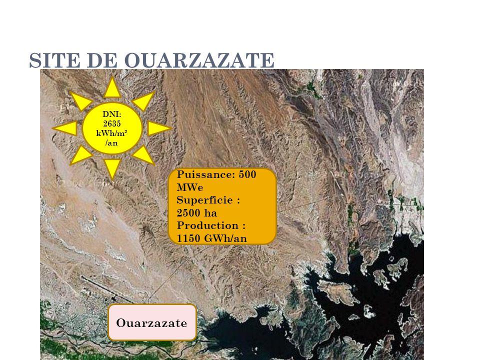 SITE DE OUARZAZATE DNI: 2635 kWh/m² /an Ouarzazate Puissance: 500 MWe Superficie : 2500 ha Production : 1150 GWh/an