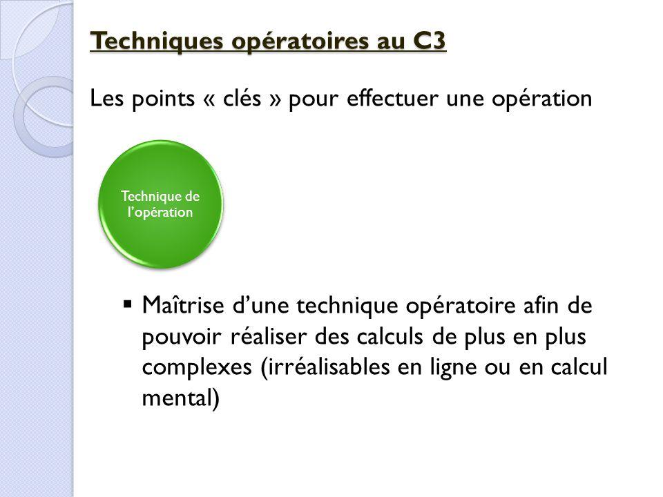 Technique de l'opération Techniques opératoires au C3 Les points « clés » pour effectuer une opération  Maîtrise d'une technique opératoire afin de p