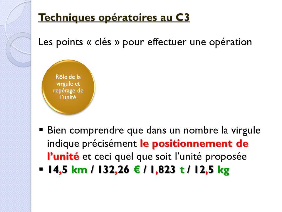 Rôle de la virgule et repérage de l'unité Techniques opératoires au C3 Les points « clés » pour effectuer une opération le positionnement de l'unité 