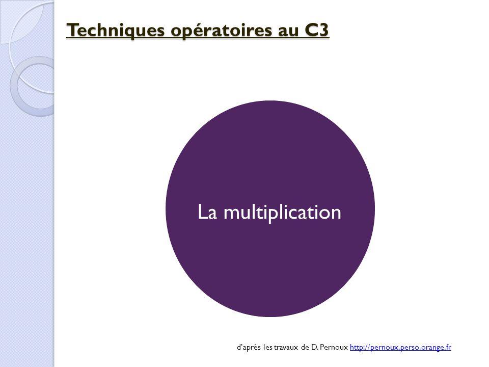 La multiplication Techniques opératoires au C3 d'après les travaux de D. Pernoux http://pernoux.perso.orange.frhttp://pernoux.perso.orange.fr