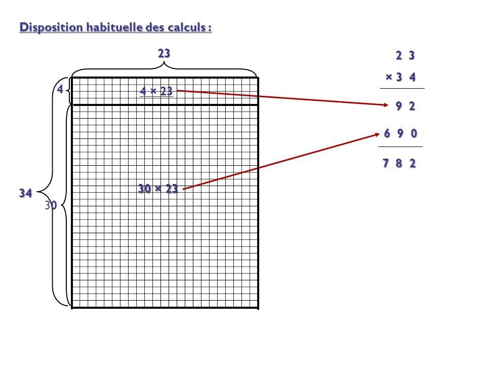 Disposition habituelle des calculs : 23 34 4 3030 4 × 23 30 × 23 2 3 2 3 × 3 4 9 2 6 9 0 7 8 2
