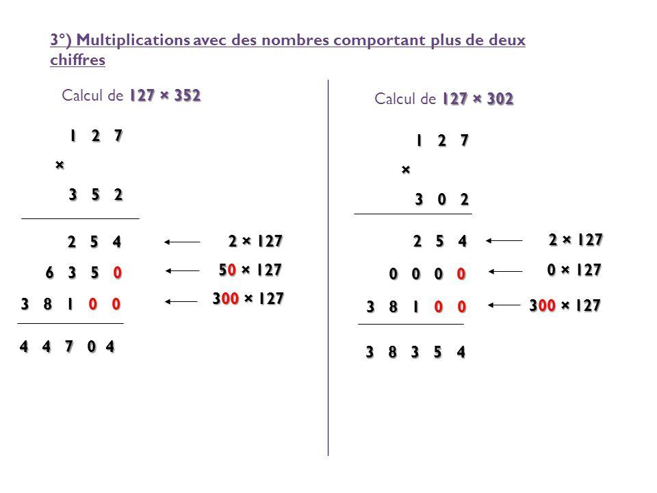 3°) Multiplications avec des nombres comportant plus de deux chiffres 127 × 352 Calcul de 127 × 352 1 2 7 × 3 5 2 3 5 2 2 5 4 2 5 4 2 × 127 6 3 5 0 50