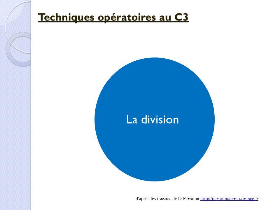 La division Techniques opératoires au C3 d'après les travaux de D. Pernoux http://pernoux.perso.orange.frhttp://pernoux.perso.orange.fr