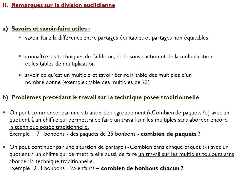 II.Remarques sur la division euclidienne a)Savoirs et savoir-faire utiles :  savoir faire la différence entre partages équitables et partages non équ