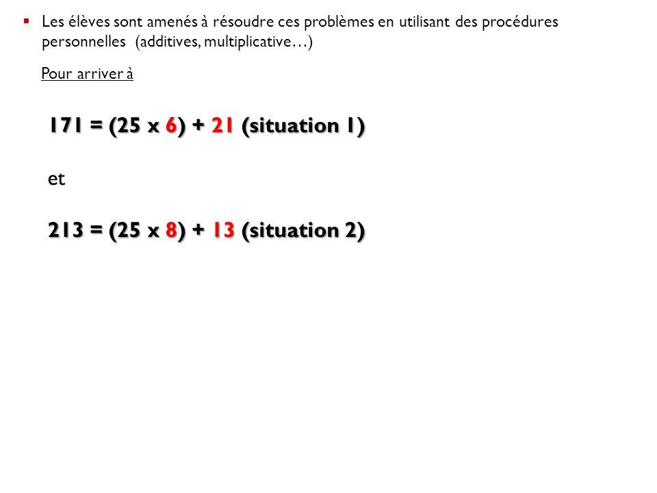  Les élèves sont amenés à résoudre ces problèmes en utilisant des procédures personnelles (additives, multiplicative…) Pour arriver à 171 = (25 x 6)