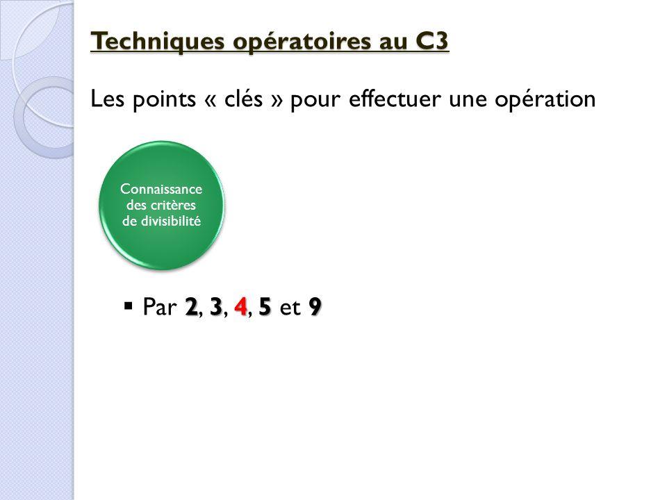 Connaissance des critères de divisibilité Techniques opératoires au C3 Les points « clés » pour effectuer une opération 23459  Par 2, 3, 4, 5 et 9
