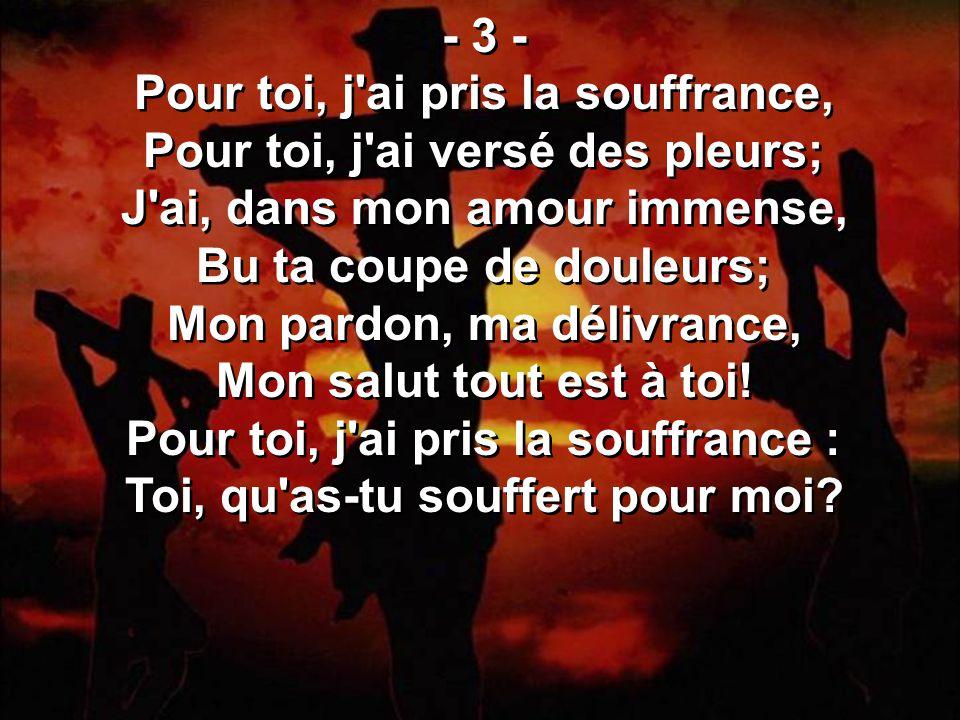 - 3 - Pour toi, j ai pris la souffrance, Pour toi, j ai versé des pleurs; J ai, dans mon amour immense, Bu ta coupe de douleurs; Mon pardon, ma délivrance, Mon salut tout est à toi.