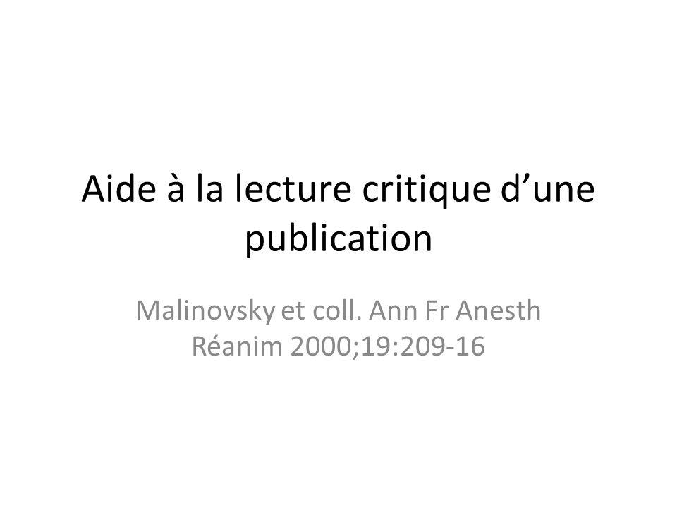 Aide à la lecture critique d'une publication Malinovsky et coll.