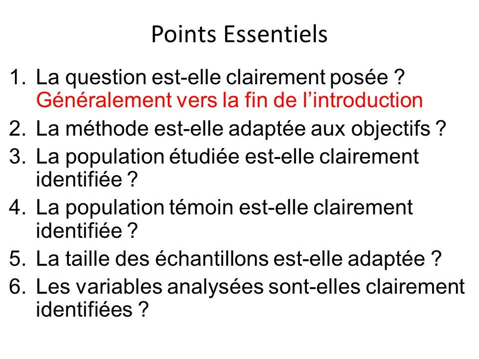 Points Essentiels 7.Le choix des variables est-il adapté aux objectifs.
