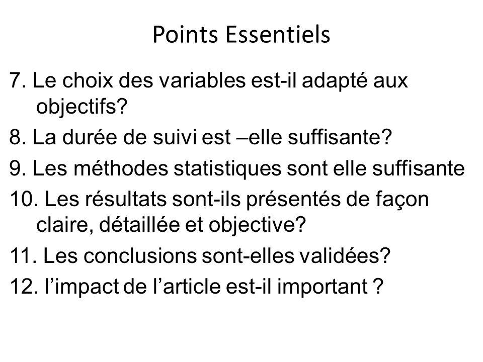 Points Essentiels 7. Le choix des variables est-il adapté aux objectifs.