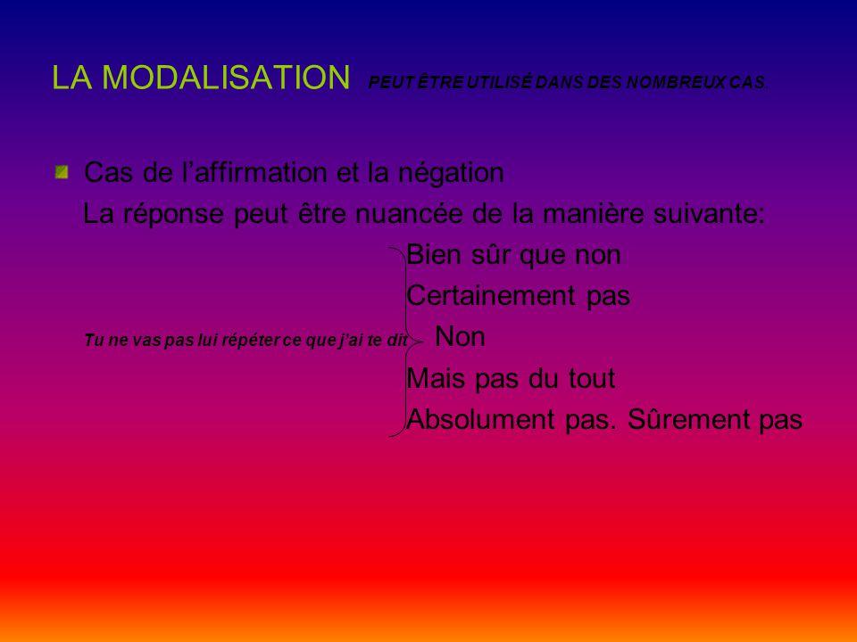 La modalisation DÉFINITION La modalisation est la marque par laquelle le sujet qui parle donne aux mots qu'il utilise diverses nuances.